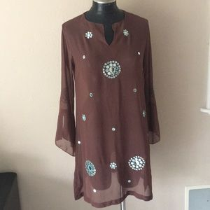 Other - Brown sheer tunic beach dress cover-up mirrored